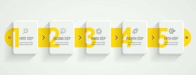 Projeto da etiqueta infográfico com ícones e 5 opções ou etapas. infográficos para o conceito de negócio.