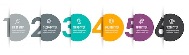 Projeto da etiqueta infográfico com ícones e 6 opções ou etapas. infográficos para o conceito de negócio.