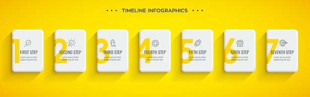 Projeto da etiqueta infográfico com ícones e 7 opções ou etapas. infográficos para o conceito de negócio.