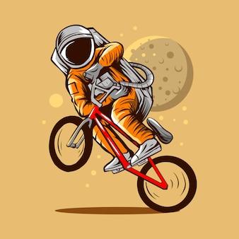 Projeto da ilustração da bicicleta do bmx do estilo livre do astronauta