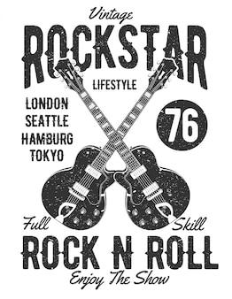 Projeto da ilustração da estrela do rock do vintage