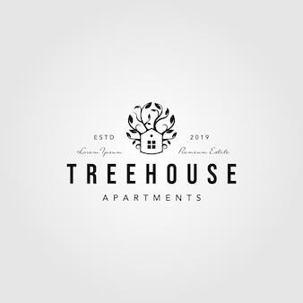 Projeto da ilustração da natureza do logotipo da casa na árvore do vintage