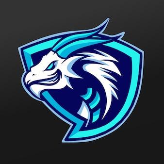 Projeto da ilustração do esporte da mascote do dragão azul do gelo. esquadrão da equipe de jogos logo esport