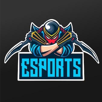 Projeto da ilustração do esporte da mascote do ninja com espadas para o time de jogos da logo esport