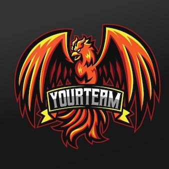 Projeto da ilustração do esporte da mascote do phoenix orange bird para a equipe de jogos da logo esport