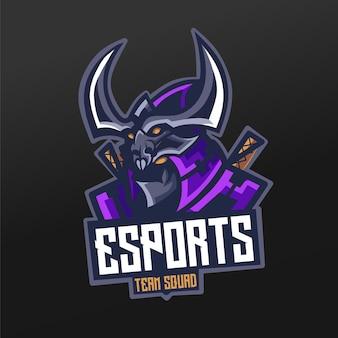 Projeto da ilustração do esporte da mascote ninja para o time de jogos da logo esport