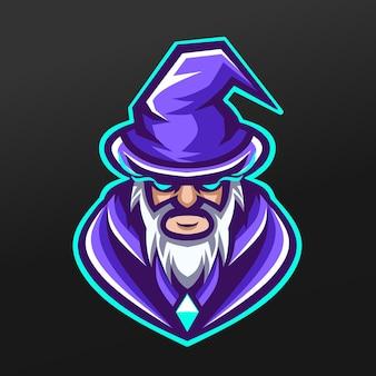 Projeto da ilustração do esporte do mago pai bruxa mascote para o time de jogos da logo esport