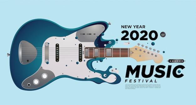 Projeto da ilustração do festival da música e da guitarra para o evento da festa do ano 2020 2020.