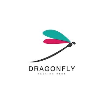 Projeto da ilustração do ícone do vetor do modelo do logotipo da libélula