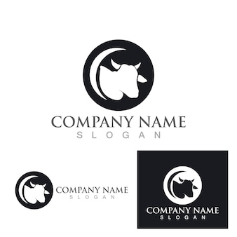 Projeto da ilustração do ícone do vetor do modelo do logotipo da vaca