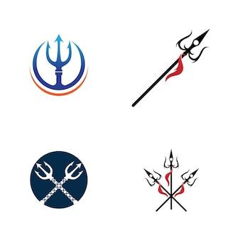 Projeto da ilustração do ícone do vetor trident logo template