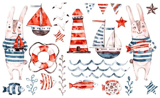 Projeto da ilustração do marinheiro do coelho da aquarela náutica