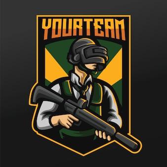 Projeto da ilustração do mascote do battle royale para o time de jogos logo esport