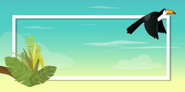 Projeto da ilustração do pássaro do tucano no fundo