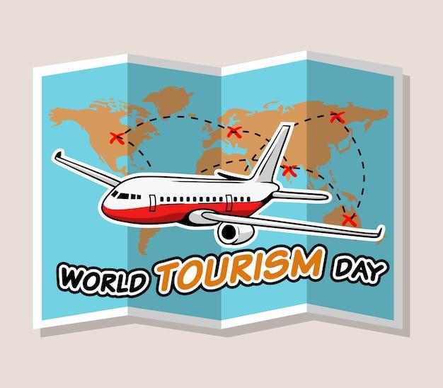 Projeto da ilustração do vetor do cumprimento do dia do turismo de mundo.
