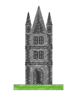 Projeto da ilustração do vetor do ícone da torre do castelo britânico
