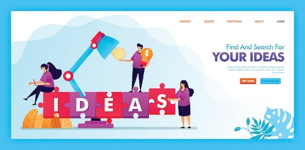 Projeto da ilustração plana de encontrar e procurar suas idéias.