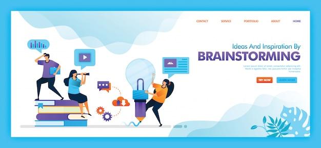 Projeto da ilustração plana de idéias e inspiração por brainstorming.