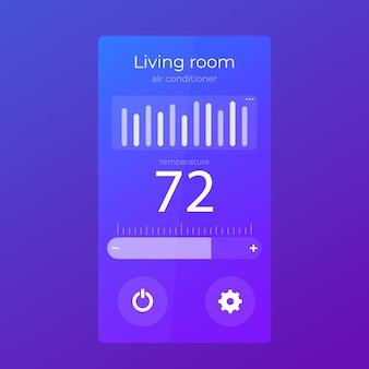 Projeto da interface do usuário do aplicativo termostato
