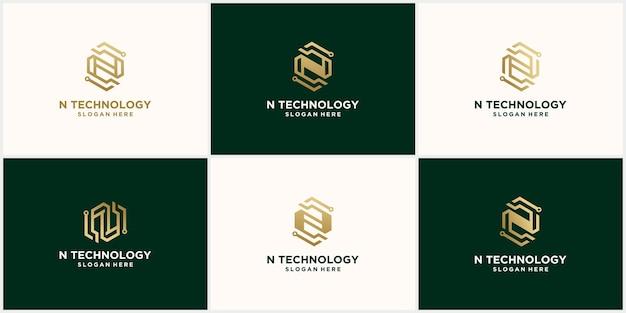 Projeto da letra n do logotipo do monograma abstrato definido na cor dourada
