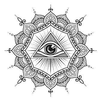 Projeto da mandala do terceiro olho. livro para colorir ou impressão de t-shirt.