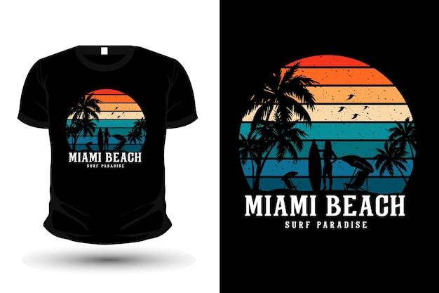 Projeto da maquete da camiseta da silhueta do surf paraíso do surf em miami beach