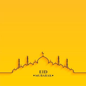 Projeto da mesquita da linha eid mubarak em fundo amarelo