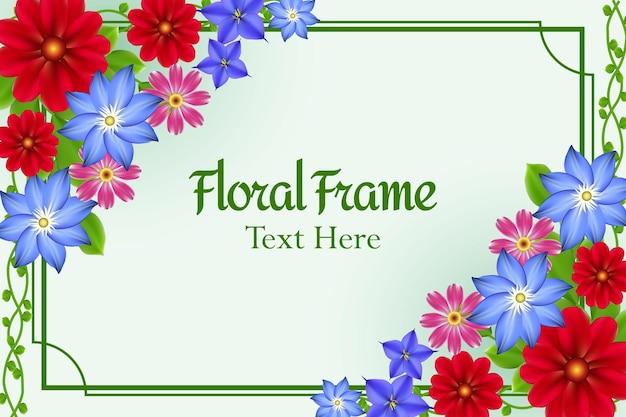 Projeto da natureza das flores coloridas realistas do fundo verde