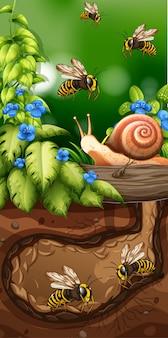 Projeto da paisagem com abelhas no subsolo