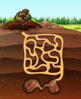 Projeto da paisagem com formigas no subsolo