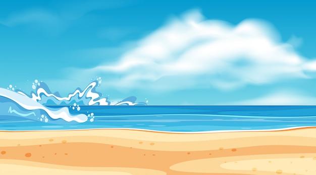Projeto da paisagem com grandes ondas no mar