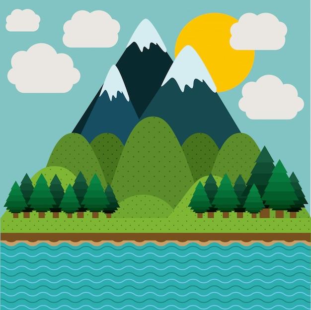 Projeto da paisagem, ilustração vetorial.