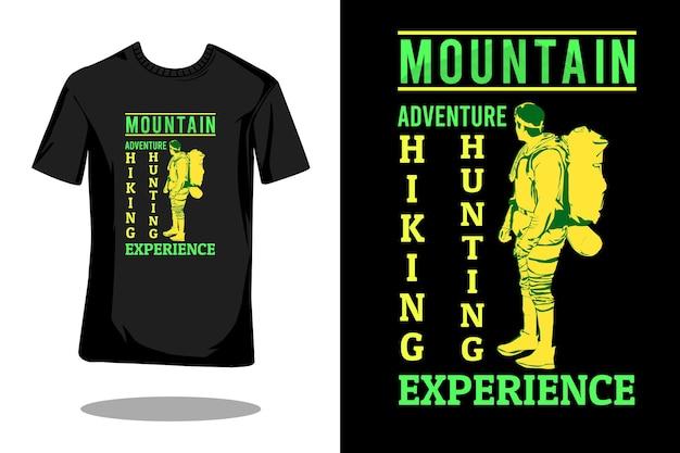Projeto da silhueta da silhueta da aventura na montanha