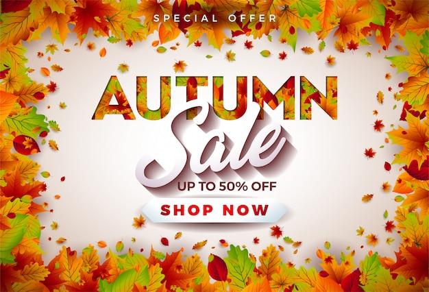 Projeto da venda do outono com folhas e rotulação de queda no fundo branco.
