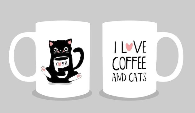 Projeto da xícara de café com bonito gato preto. estilo kawaii. ilustração em vetor moderno eps10