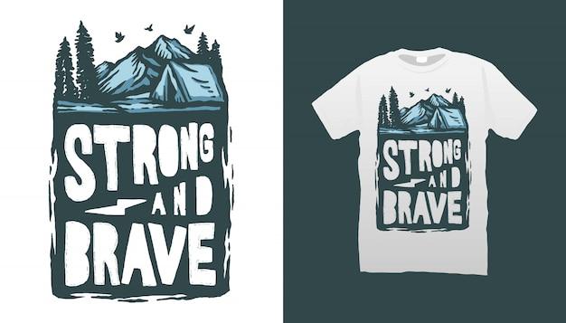 Projeto de acampamento do tshirt da ilustração
