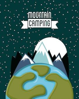 Projeto de acampamento sobre ilustração vetorial de fundo estrelado