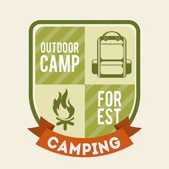 Projeto de acampamento sobre ilustração vetorial de fundo