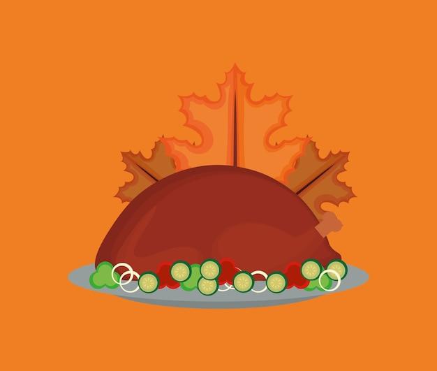 Projeto de ação de graças com peru assado e folhas de outono