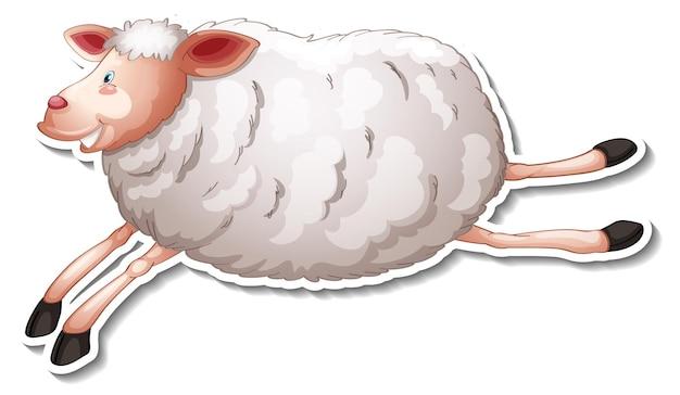 Projeto de adesivo com personagem de desenho animado de ovelha fofa