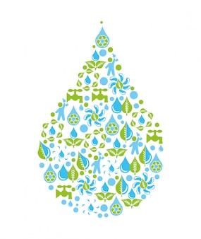 Projeto de água sobre ilustração vetorial de fundo branco