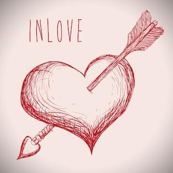 Projeto de amor sobre ilustração vetorial de fundo cinza