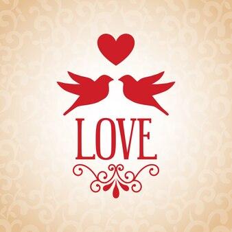 Projeto de amor sobre ilustração vetorial de fundo padrão