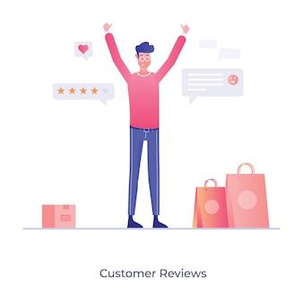 Projeto de avaliações de clientes estilo de ilustração plana conceitual