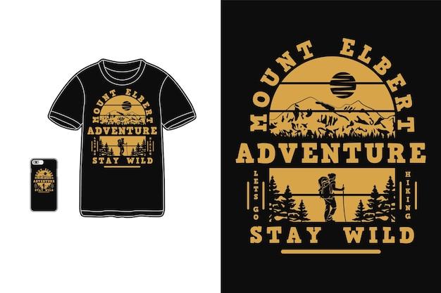 Projeto de aventura mount albert para estilo retro de silhueta de camiseta