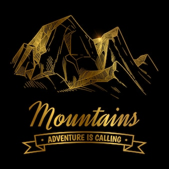 Projeto de aventuras de montanhas douradas. paisagem de montanha de mão