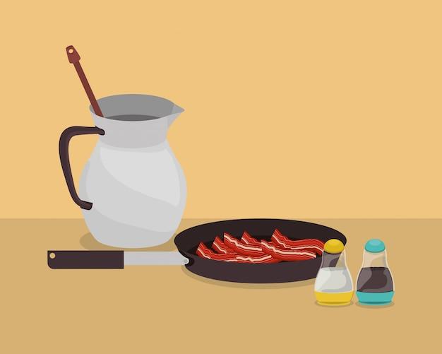 Projeto de bacon e chocolate de café da manhã, comida refeição produto fresco produto natural mercado premium e cozinhar tema ilustração vetorial