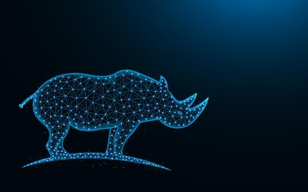Projeto de baixo poli rinoceronte, imagem geométrica abstrata de mamífero animal, ilustração em vetor poligonal malha zoo wireframe malha feita de pontos e linhas