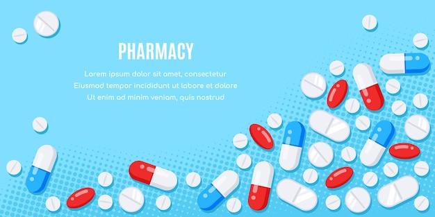 Projeto de bandeira de estilo simples com medicamentos. comprimidos, cápsulas, medicamento de analgésicos, antibióticos, vitaminas.