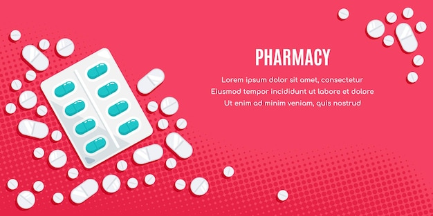 Projeto de bandeira de estilo simples com medicamentos. comprimidos, cápsulas, medicamento de analgésicos, antibióticos, vitaminas. Vetor Premium